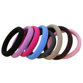 50Pcs Girls Candy-colors High Elastic Hair Ties Bands Seamless Rope Ponytail Holders Headband Hairwear Accessories Random Colors - intl
