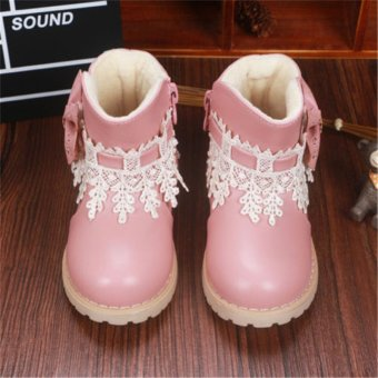 Waterproof Baby Kids Girls Children Lace Snow Ankle Boots Casual Princess Shoes - intl
