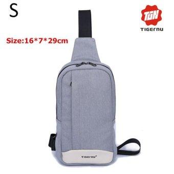 Lan-store Premium Quality Chest Bag-2017 Tigernu Brand Messenger Bags Casual Men's Travel Bags Chest Bag Pack Small Crossbody Men Women Shoulder Bag (Silver grey) - intl
