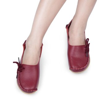 Casual Female Genuine Leather Slip On Flats(Wine Red) - intl