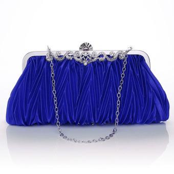 Satin Crystal Clutch Party Wedding Purse Soft Evening Bag Blue - Intl