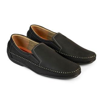 Giày Mọi Nam Da Bò Hùng Cường HC1211 (Đen)