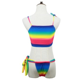 Sexy Women Bikini Set Rainbow Tie Strap Top Thong Bottom Beach Swimwear Swimsuit Bathing Suit Rose - intl