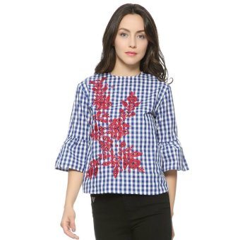 Women floral embroidery plaid blouse full cotton three quarter flare sleeve loose shirts fashion streetwear tops (Blue) - intl