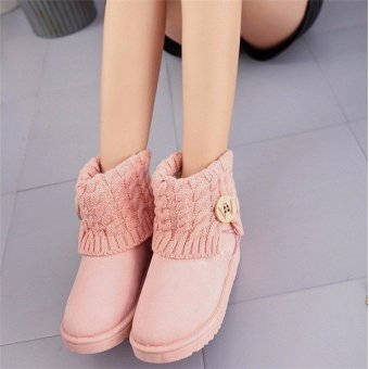 Women's Winter Wool Short Suede Booties Warm Shoes Knit Thicken Ankle Snow Boots Pink - intl