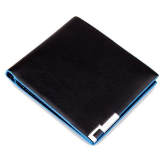 Men Stylish Bifold Business Leather Wallet Card Holder Coin Wallet Purse black - intl