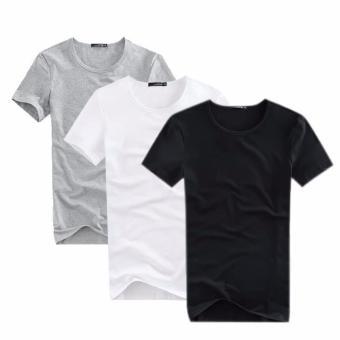 Bộ 3 áo thun nam body cổ tròn cao cấp mềm mịn ( đen, trắng, xám )