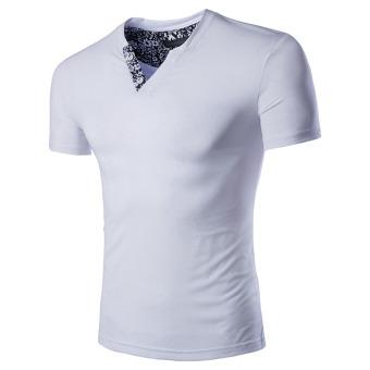 Men's Slim Fit V-neck T-shirt Short Sleeve (White) - intl