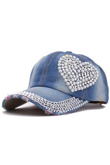 Moonar Women Rhinestone Heart Shape Denim Baseball Hats Cap (Dark Blue)