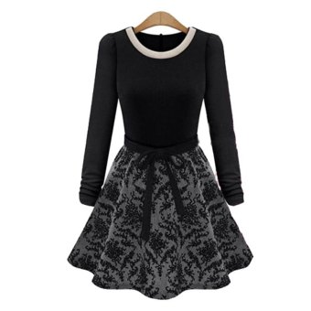 Embellished A-Line Lace-Up Women's Dress Black TC - Intl--TC - intl