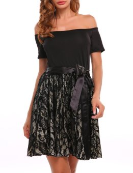 Cyber Women Casual Short Sleeve Lace Patchwork Off Shoulder Contrast Bow Evening Party Mini Dress ( Black ) - intl