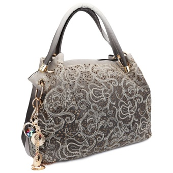 Women Hand Bag Chic Hollow Print Accessories Decoration (Light Gray) - intl