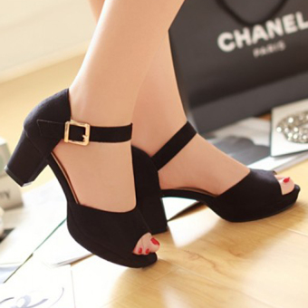 Giày gót vuông CG86GX (Đen)