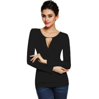 Cyber Meaneor Women V-Neck Hollow Out Long Sleeve Blouse T-shirt (Black) - Intl
