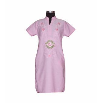 Đầm nữ linen thêu hoa Tri Lan DAM028 ( Hồng )