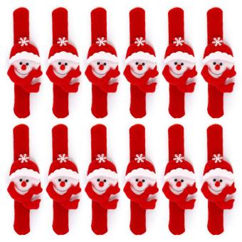 Snowman Xmas Wrist Slap Band Set of 12 (Red) - Intl - intl