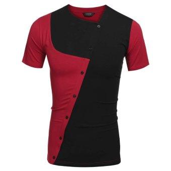 Cyber COOFANDY Men Asymmetrical Collar Short Sleeve Patchwork Contrast Color T Shirt Tops (Black) - Intl
