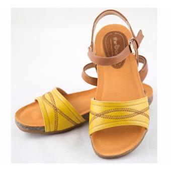 [The bany] Sandal đế bệt 7,5cm quai ngang vàng chanh thuê họa tiết