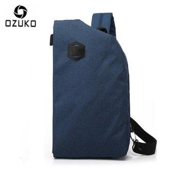 OZUKO 2017 New Creative Chest Bag Casual Multi-functional Shoulder Messenger Bag Travel Crossbody Handbag Chest Pack (Blue) - intl
