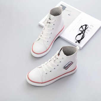 Women's High-Top Board Shoes With Soft Leather Design(White) - intl