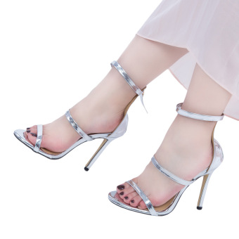 Sexy Strap Zipper Decoration Thin High Heel Gladiator Sandals(Sliver) - intl