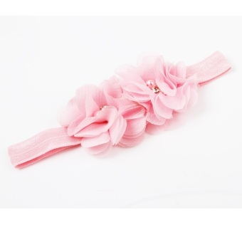 Fancyqube Polyester Fiber Soft Elastic Flower Shaped Baby Girls Hairband Charming Hair Accessories Pink