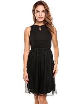 Cyber Women's Sleeveless Keyhole Sheer Mesh Patchwork Casual A-Line Dress ( Black ) - intl