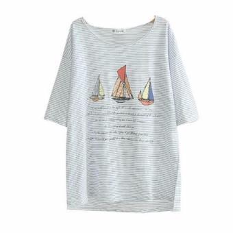 Áo Thun Nữ Sọc Xanh Hình Thuyền Buồm LTTA171
