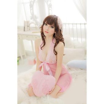 Áo ngủ yếm ren thắt nơ xẻ giữa CDAN25 RainStore (hồng)
