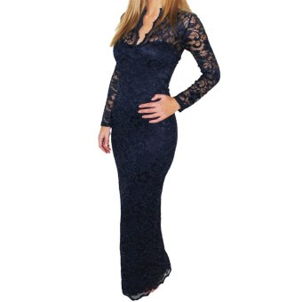 Lace Women Maxi Dress Long Sleeve - Intl