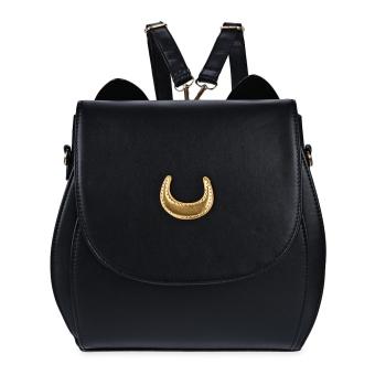 Rivet Tote Handbag Shoulder Messenger Bag Backpack(Black) - intl