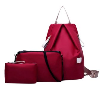 New Fashion 3-psc Waterproof Nylon Oxford Backpack (wine red) - intl