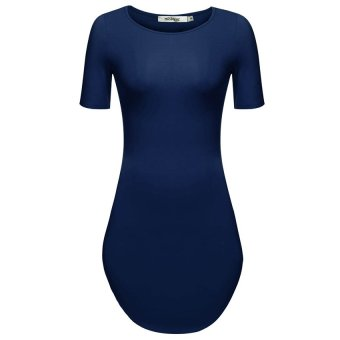 Cyber Meaneor Women O-Neck Short Sleeve Solid Slim Fit Bodycon Mini Dress ( Navy Blue ) - Intl