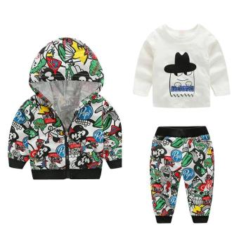 3pcs Kids Boys Cartoon Printed Casual Clothes Hoodie Coat Tops Pants Outfit(Green) - intl