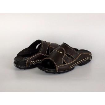 Dép da bò màu đen họa tiết 3 sao :VO shoes