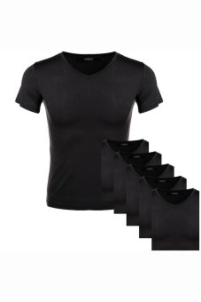 Cyber Avidlove Men V Neck Bottoming Shirt Solid Short Sleeve Thin Soft T-Shirt Top Home Wear 6pcs a set ( Black ) - Intl
