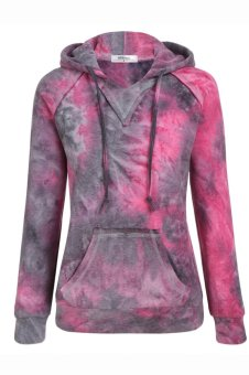 Sunwonder Meaneor Women Fashion Gradient Color Long Sleeve Hooded Pullover Hoodie (Black&Purple) - intl