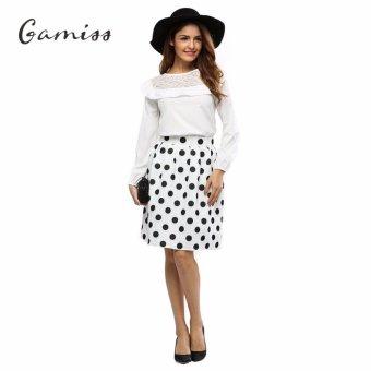 Gamiss Fashion Women Chic High-Waist Polka Dot Print A-Line Ball Gown Skirt (White) - intl