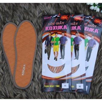 Bộ 3 đôi lót giày khử mùi than hoạt tính vải dạ êm dành cho nam KOXUKA (Màu Vàng da bò)