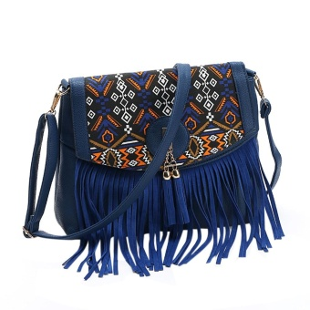 Vintage Women Leisure Tassel Retro Splicing Romantic Shoulder Messenger Bag BU - intl