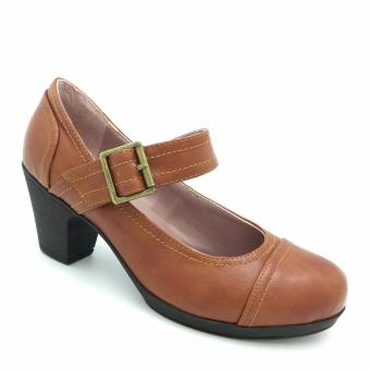 Giày cao gót đế dày 333010-188-05 (màu nâu)
