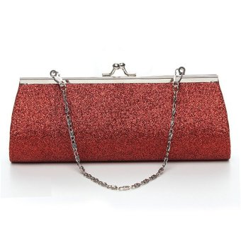 Women Powder Small Shoulder Long Evening Clutch Bag Cosmetic Tote Handbag Red - Intl
