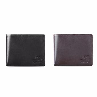 Bộ 2 ví da thật LAKA ( đen trơn, nâu trơn ) LKV0102