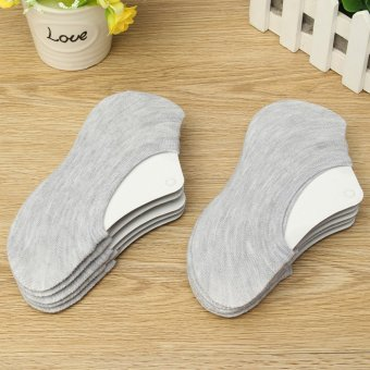 10 Pairs women/Men Cotton Loafer Boat Non-Slip Invisible Low Cut No Show Socks Grey - intl