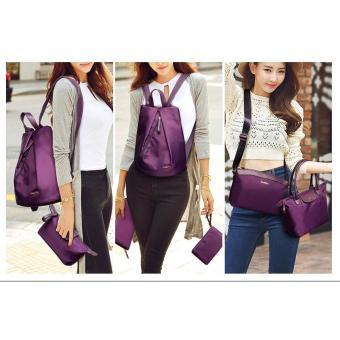 Bộ 8 balo, túi xách và ví thời trang Làm Đẹp (tím)