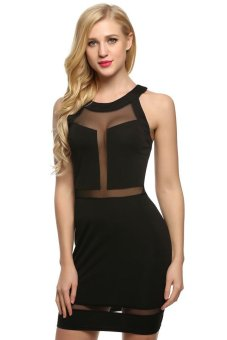 Cyber Zeagoo Women Sexy O-Neck Off shoulder Transparent Mesh Patchwork Mini Dress ( Black ) - Intl - Intl