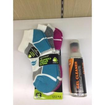 Combo 3 đôi vớ nữ Multi Sport Cushion và Gel vệ sinh giày thể thao Sofsole-Int: One size