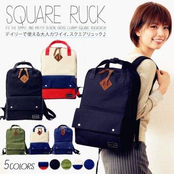 Japan Crosscharm Thick Canvas Backpack Solid color Student Bag Women Backpack (Black) - intl