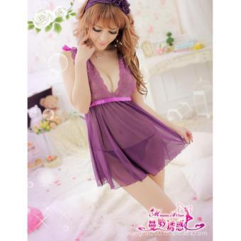 Đầm ngủ von ren cổ chữ V CDAN07 Kim Phát (tím)