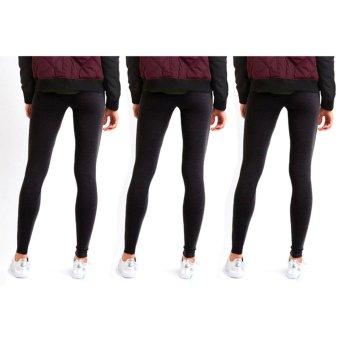 Bộ 3 Quần legging thun nữ không đạp gót - xám